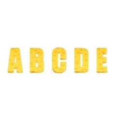 Cheese alphabet set Letters A-E vector image