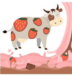 Fruit strawberry chocolate milk cow milk splash vector