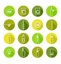 Icons set of vaporizer and accessories vector