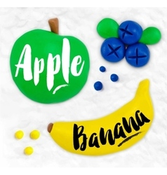 Plasticine fruits apple vector
