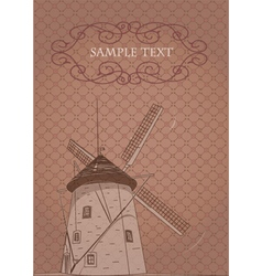 vinatage windmill poster vector image