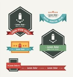 Pencil label and ribbon template vector