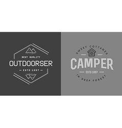 Set of camping camp elements with fictitious names vector