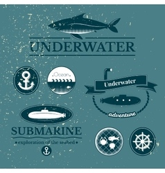 Set of labels with underwater vector
