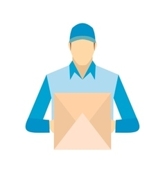 Delivery man holding cardboard box vector