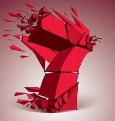 Abstract low poly wrecked red number 7 with black vector