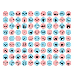 Great set 99 pink blue emotion isolated on white vector