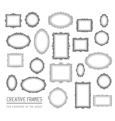 Big set of gray rectangular and oval fram vector