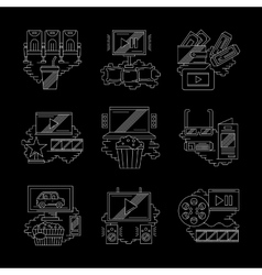 Movie technology detailed white line icons vector