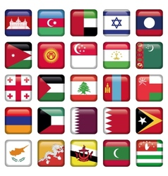 Asia Flags Square Buttons vector image vector image