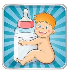 Baby with a bottle vector image vector image