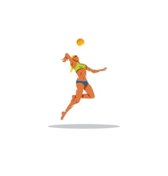Beach volleyball player sign the girl makes a vector