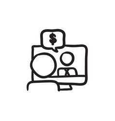 Business video negotiations sketch icon vector
