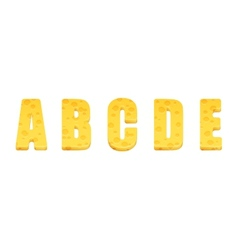 Cheese alphabet set Letters A-E vector image