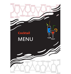 cocktail menu cover vector image