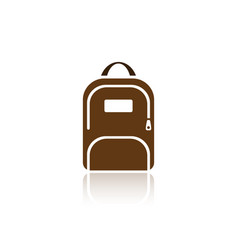 color backpack icon with reflection on white vector image vector image