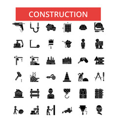 construction thin line icons linear vector image vector image