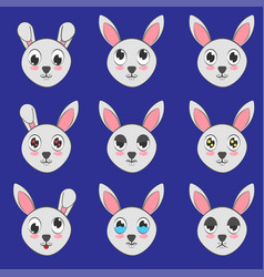 Cute rabbit face expressions vector