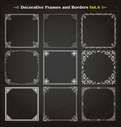 decorative square frames and borders set 4 vector image