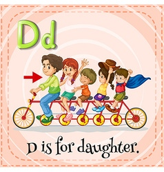 Flashcard letter d is for daughter vector