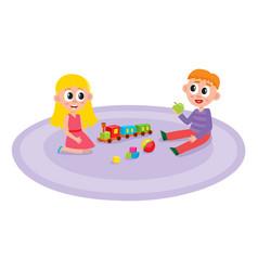 flat boy and girl lying at carpet vector image vector image