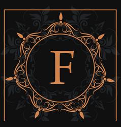 Florishes gold letter f calligraphic heraldic dark vector