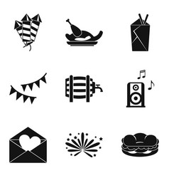 hangover icons set simple style vector image