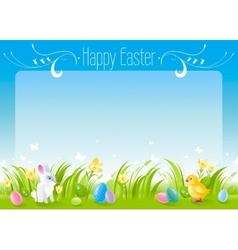Happy easter horizontal banner border spring vector