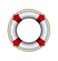 Lifebuoy with rope lifebelt realistic vector
