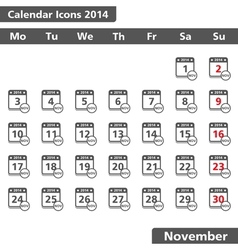 Novenber 2014 Calendar Icons vector image vector image