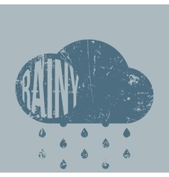 Rainy retro grunge Weather Icon with Type vector image vector image