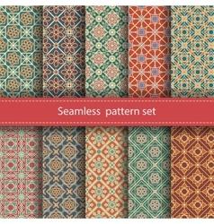 set of 10 seamless mosaic patterns Arabic vector image