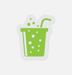 simple green icon - carbonated drink and straw vector image vector image