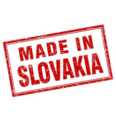 Slovakia red square grunge made in stamp vector image vector image