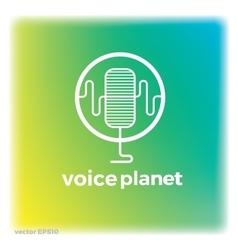 Sound voice planet green wave symbol logo vector image vector image