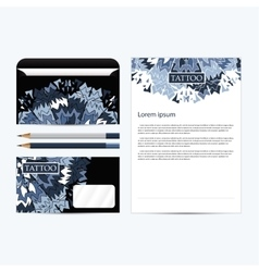 Tattoo salon corporate identity template set black vector