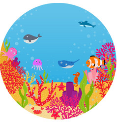 Underwater world animal cartoon vector