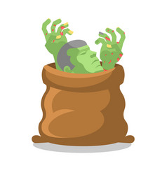 Zombies in sack dismembered corpse in bag hands vector