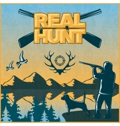 Hunting colored poster vector
