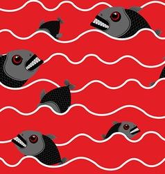 Piranha in ocean bloody water with marine predator vector