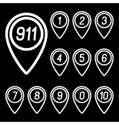 The numbers on the map arrows vector image