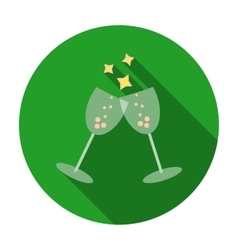 Sparkling champagne glasses icon in flat style vector image
