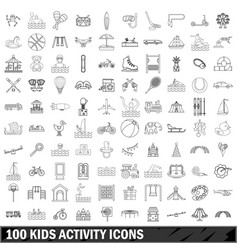 100 kids activity icons set outline style vector