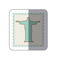 Sticker frame with silhouette of christ redeemer vector