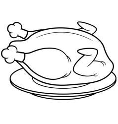 Roast chicken outline vector