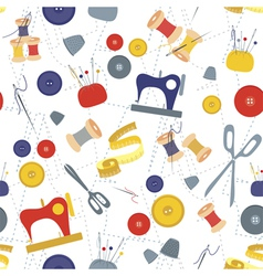 Sewing items pattern vector