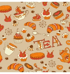Teasweets seamless doodle pattern vector