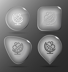 Globe and gears glass buttons vector