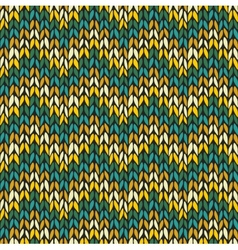 Seamless pattern with knitted chevron ornament vector