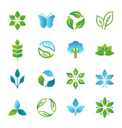 Green logos and emblems vector